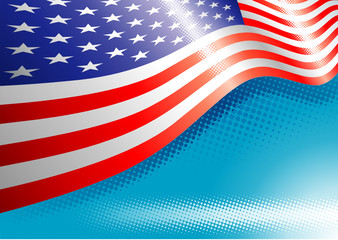 US Flag with halftone effects, Vector illustration layered.