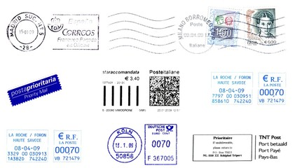 labels, stamp and postmark 2009
