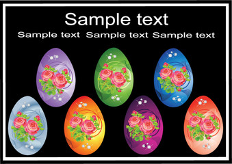 vectorial easter varicoloured eggs with roses
