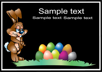 vectorial easter hare with varicoloured eggs