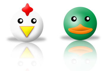 animals icons - chicken and duck. white background