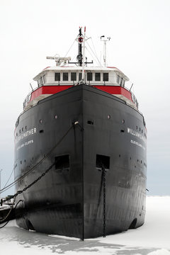 Ore Boat docked in Cleveland, Ohio in winter