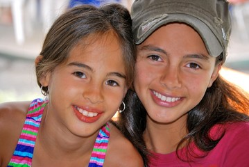Beautiful Hispanic sisters