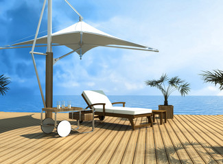 tropical dream-deckchair on dock over blue sea - rendering