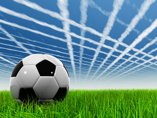 3D black soccer ball,green grass, blue sky with plane trails