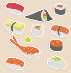 Vector illustration of sushi set make in sticker style