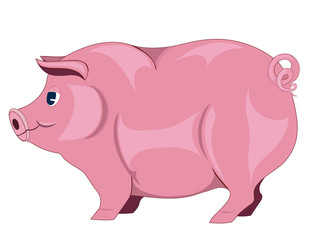 Thick animal pink on a white background
