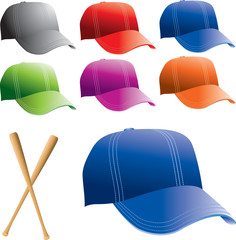 Baseball hats and bats