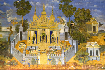 Fototapete - Cambodian Royal Palace Wall Painting