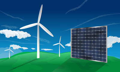 Solar cell and windfarm turbine generators