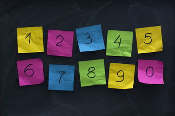 arabic numerals on colorful sticky notes and blackboard