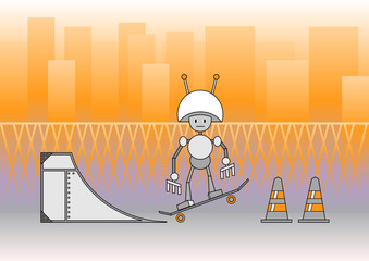 comic robot with the skateboard