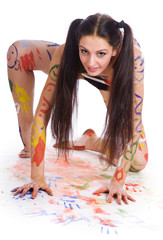 Beautiful girl paints