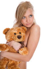 beautiful blonde with a teddy bear