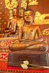 Buddha images in church of Wat Phra Kaew, Chaing Rai, Thailand