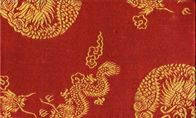 Carnet chinois relié en tissu rouge et jaune