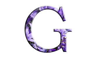 Letter G from the alphabet in flowers campanula