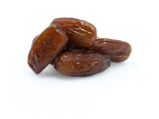 Dries dates on a white background