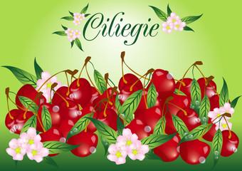 ciliegie e fiori