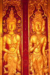 Deva and angel in Thai style carving art