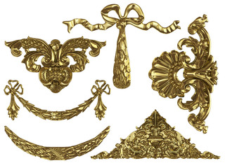isolated gold ornaments