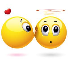 Smiling balls kissing