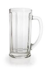 Empty beer mug on white  background