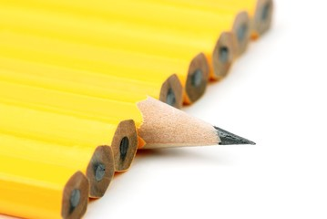 yellow pencils in a row