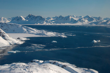 Greenland, ice floe and moutains