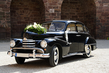 Old wedding car black