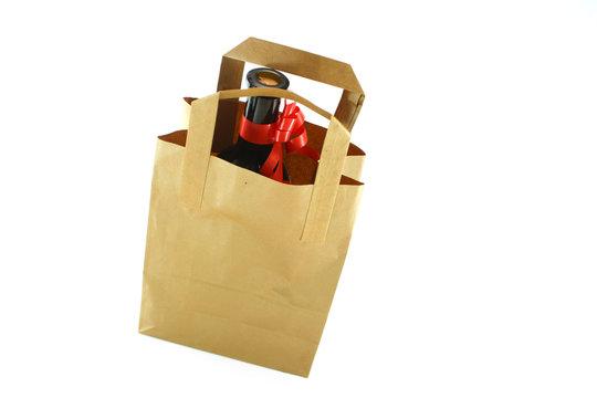 ecological paper bag and bottle