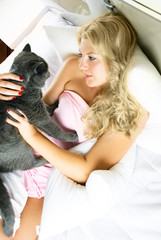 pretty woman with her cat