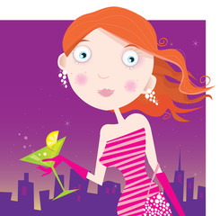 Sexi Woman with Martini drink. Fashion vector Illustration.