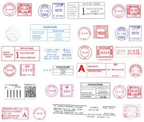 Colorful postmarks from western Europe