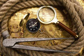 Compass and magnifier