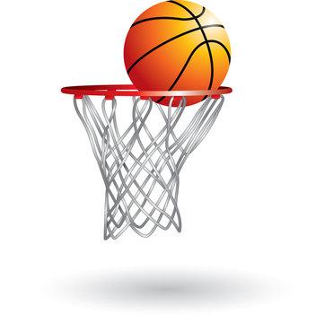 Isolated basketball in hoop