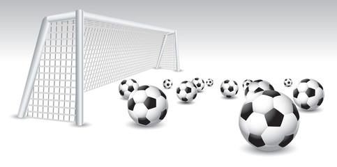 Soccer balls and goal