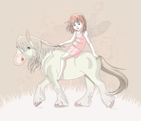 Garden Poster Pony Cute little fairy riding on a horse