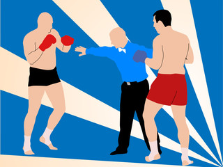 Vector illustration with fighters and referee