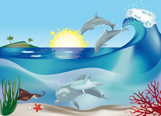 Fond de hotte en verre imprimé Dauphins delfini che saltano