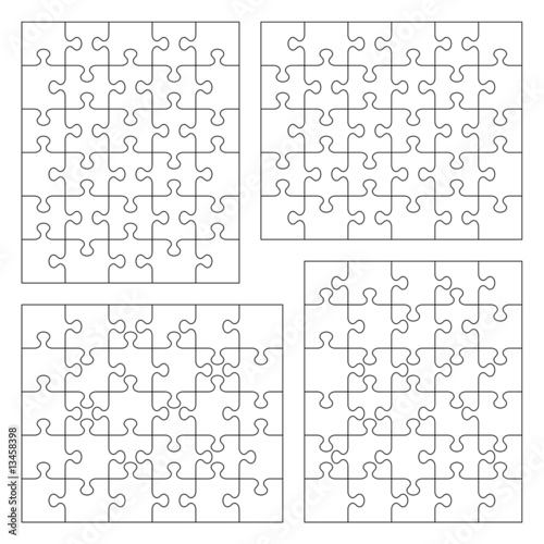 Jigsaw puzzle templates 5x6, 6x5, various cutting guidelines\