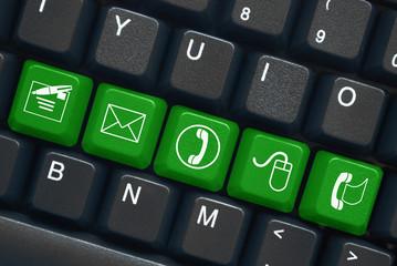 """Contact"" keys on keyboard (x5) (black/green)"