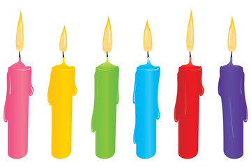 Colourful candles, isolated and easy to use