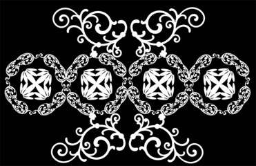 design with white symmetrical curls