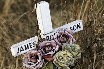 James died in an accident on a  land road