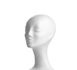 womans polystyrene head isolated on white background