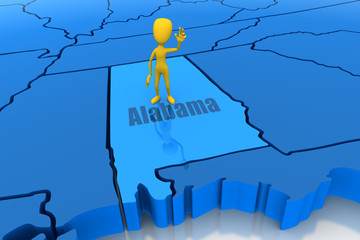 Alabama state outline with yellow stick figure