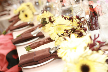 Wedding Table Place Settings and Bouquets