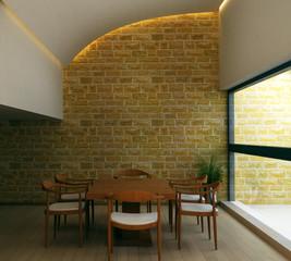 Interior.Brick wall.