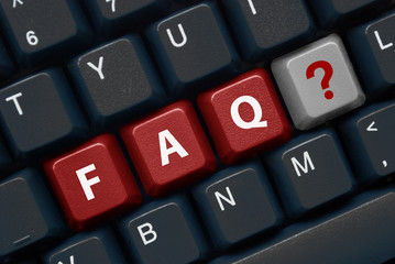"""FAQ"" keys on keyboard with question mark symbol"